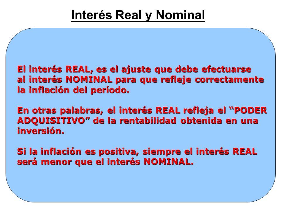 Interés Real y Nominal El interés REAL, es el ajuste que debe efectuarse. al interés NOMINAL para que refleje correctamente.