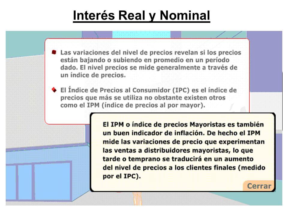 Interés Real y Nominal El impacto de la inflación se puede estimar. Ello es. necesario, para muchas decisiones financieras donde.