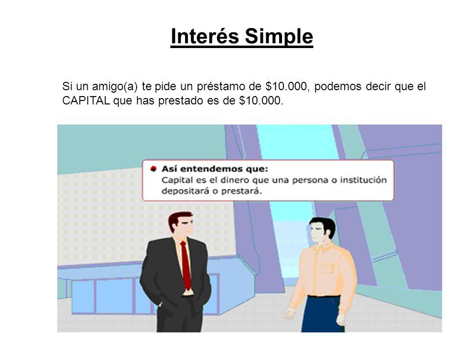 Interés Simple Si un amigo(a) te pide un préstamo de $10.000, podemos decir que el CAPITAL que has prestado es de $10.000.