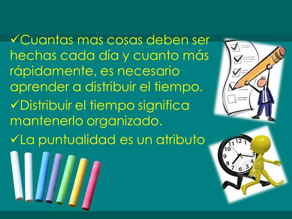 Cuantas mas cosas deben ser hechas cada día y cuanto más rápidamente, es necesario aprender a distribuir el tiempo.