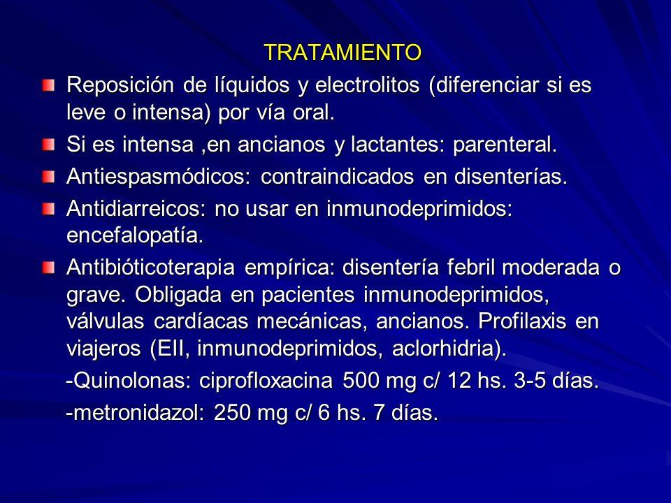 TRATAMIENTO Reposición de líquidos y electrolitos (diferenciar si es leve o intensa) por vía oral.