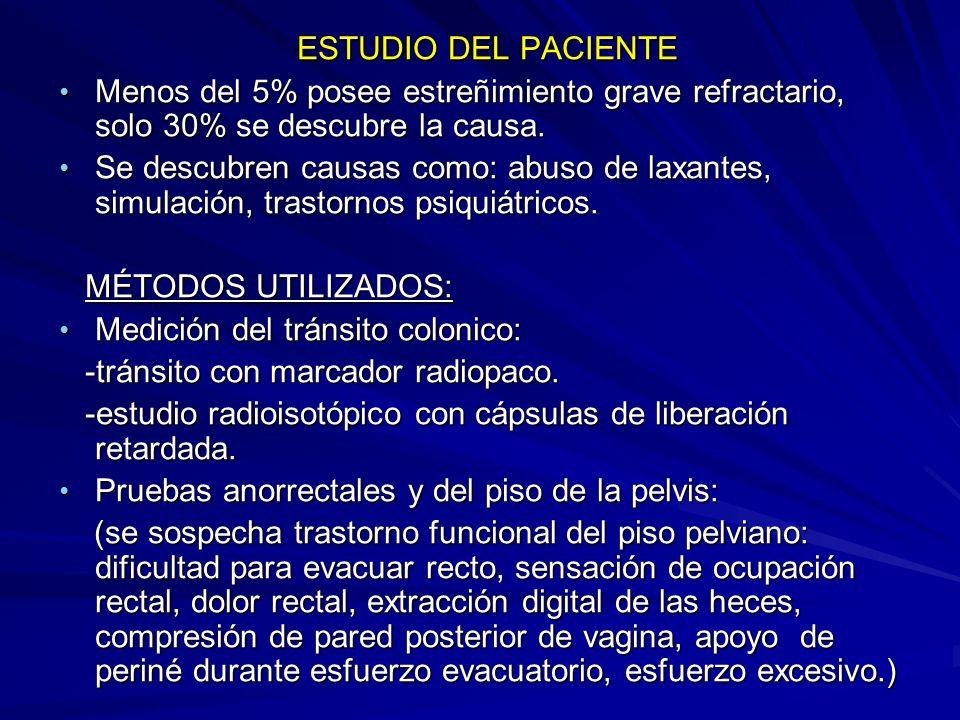 ESTUDIO DEL PACIENTE Menos del 5% posee estreñimiento grave refractario, solo 30% se descubre la causa.