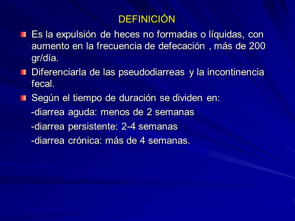 DEFINICIÓN Es la expulsión de heces no formadas o líquidas, con aumento en la frecuencia de defecación , más de 200 gr/día.