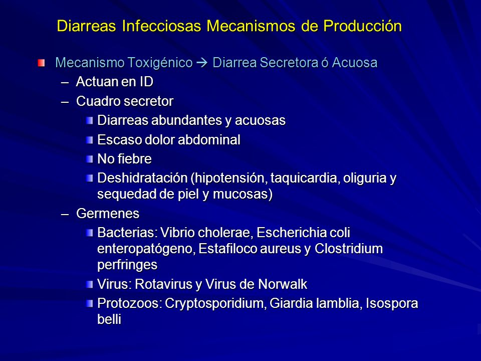 Diarreas Infecciosas Mecanismos de Producción