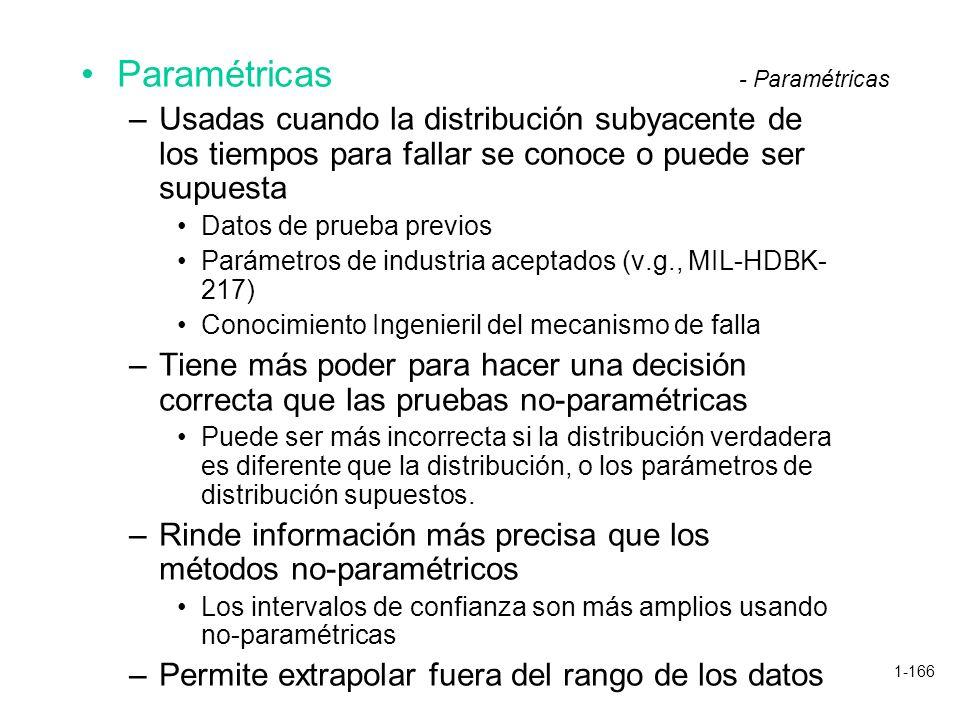 Paramétricas Usadas cuando la distribución subyacente de los tiempos para fallar se conoce o puede ser supuesta.