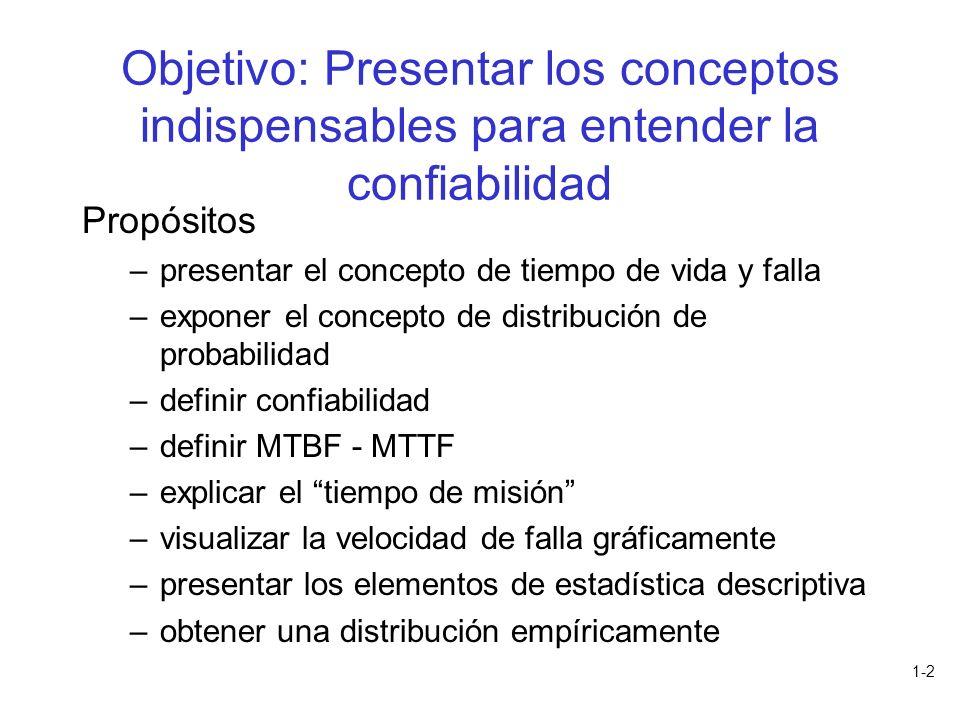 Objetivo: Presentar los conceptos indispensables para entender la confiabilidad
