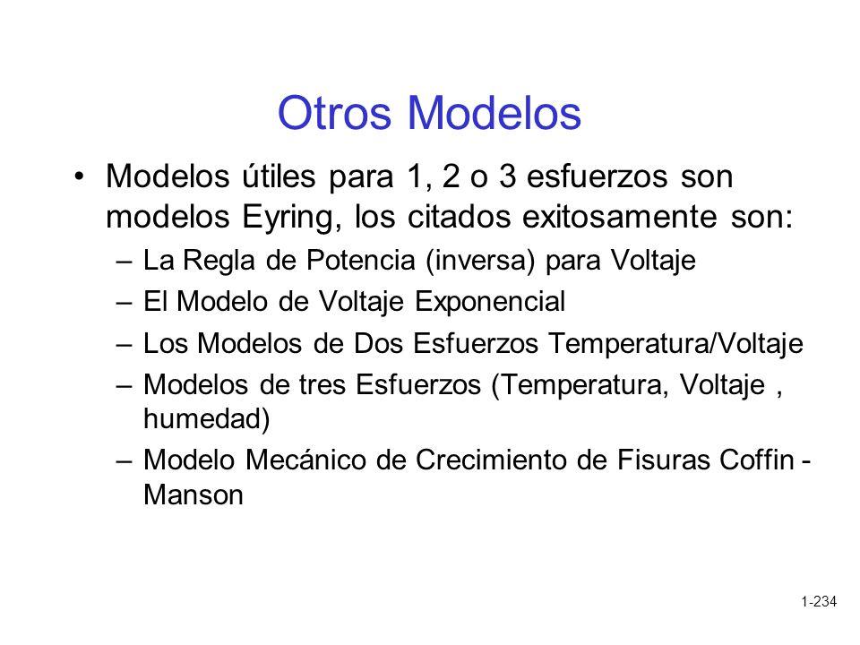 Otros Modelos Modelos útiles para 1, 2 o 3 esfuerzos son modelos Eyring, los citados exitosamente son: