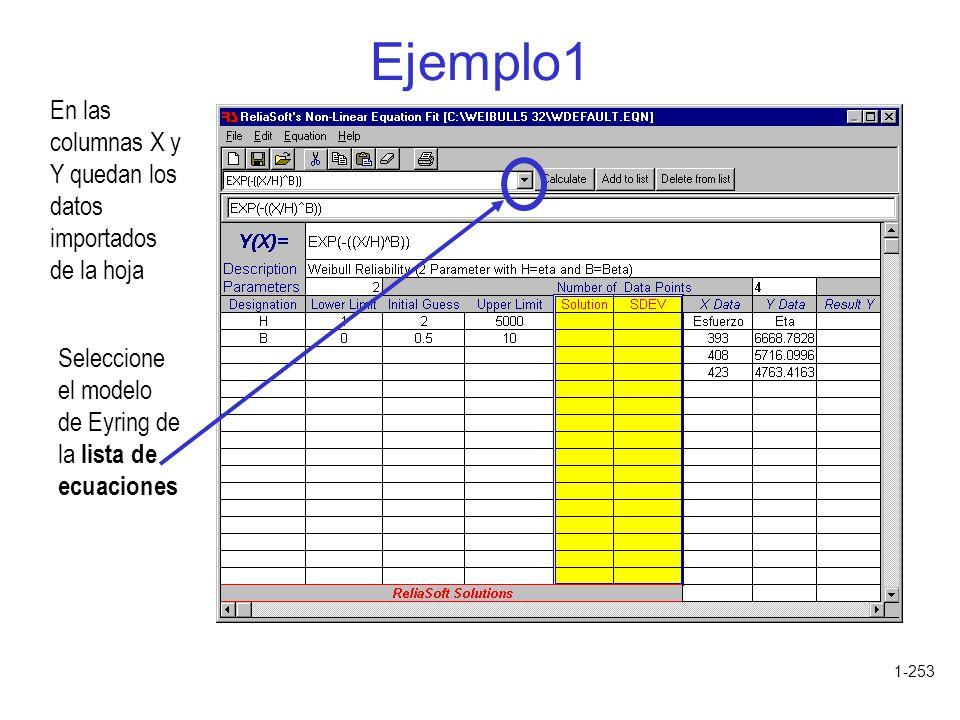Ejemplo1 En las columnas X y Y quedan los datos importados de la hoja