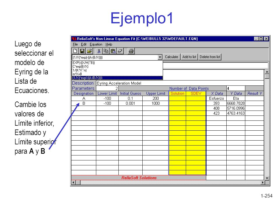 Ejemplo1 Luego de seleccionar el modelo de Eyring de la Lista de Ecuaciones.