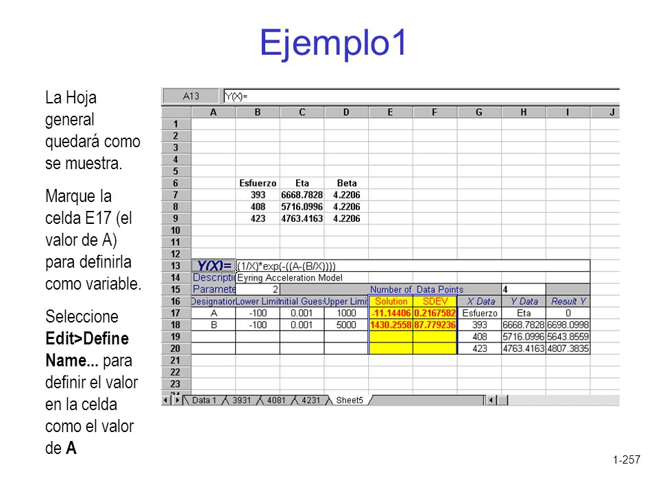 Ejemplo1 La Hoja general quedará como se muestra.