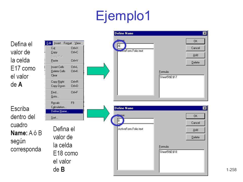 Ejemplo1 Defina el valor de la celda E17 como el valor de A