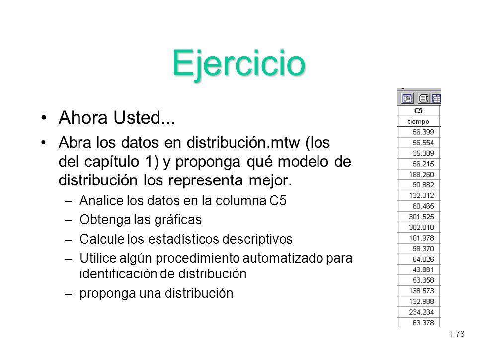Ejercicio Ahora Usted... Abra los datos en distribución.mtw (los del capítulo 1) y proponga qué modelo de distribución los representa mejor.