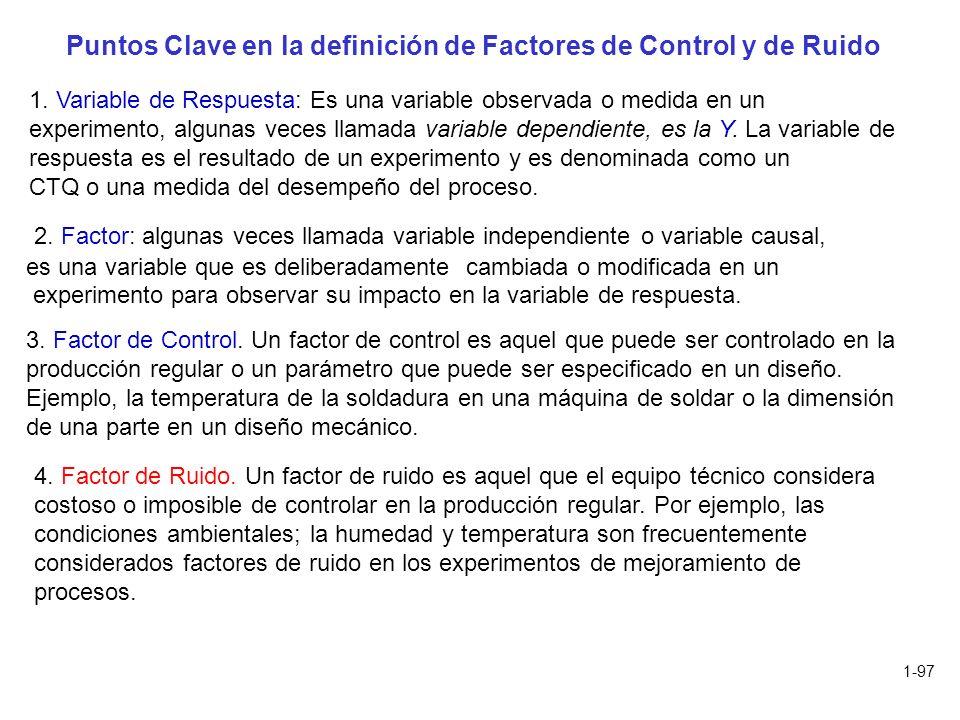 Puntos Clave en la definición de Factores de Control y de Ruido