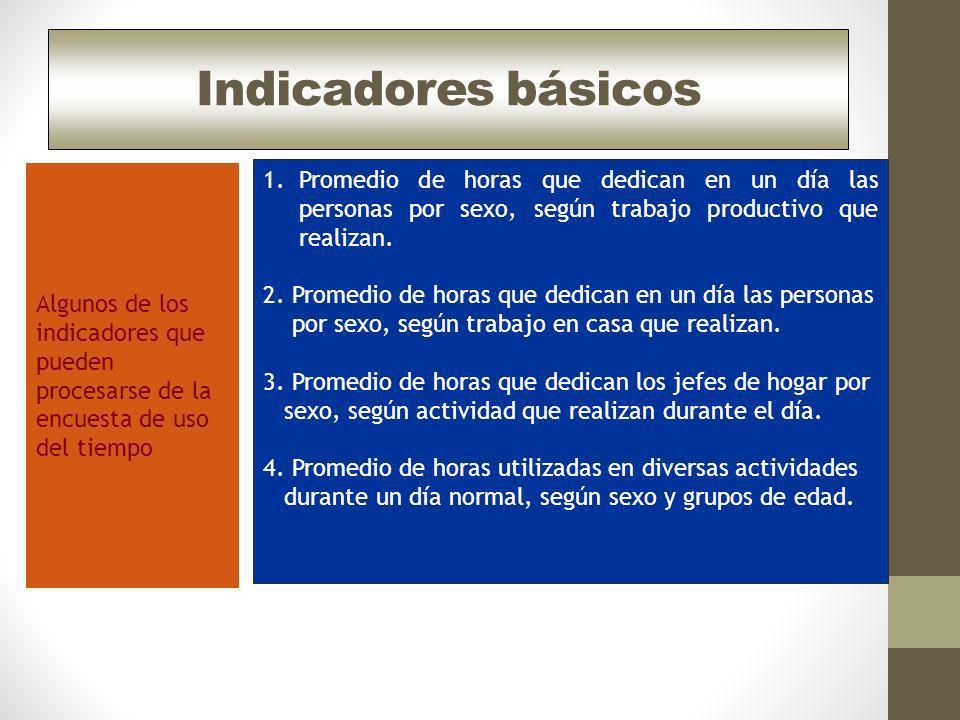 Indicadores básicos Algunos de los indicadores que pueden procesarse de la encuesta de uso del tiempo.