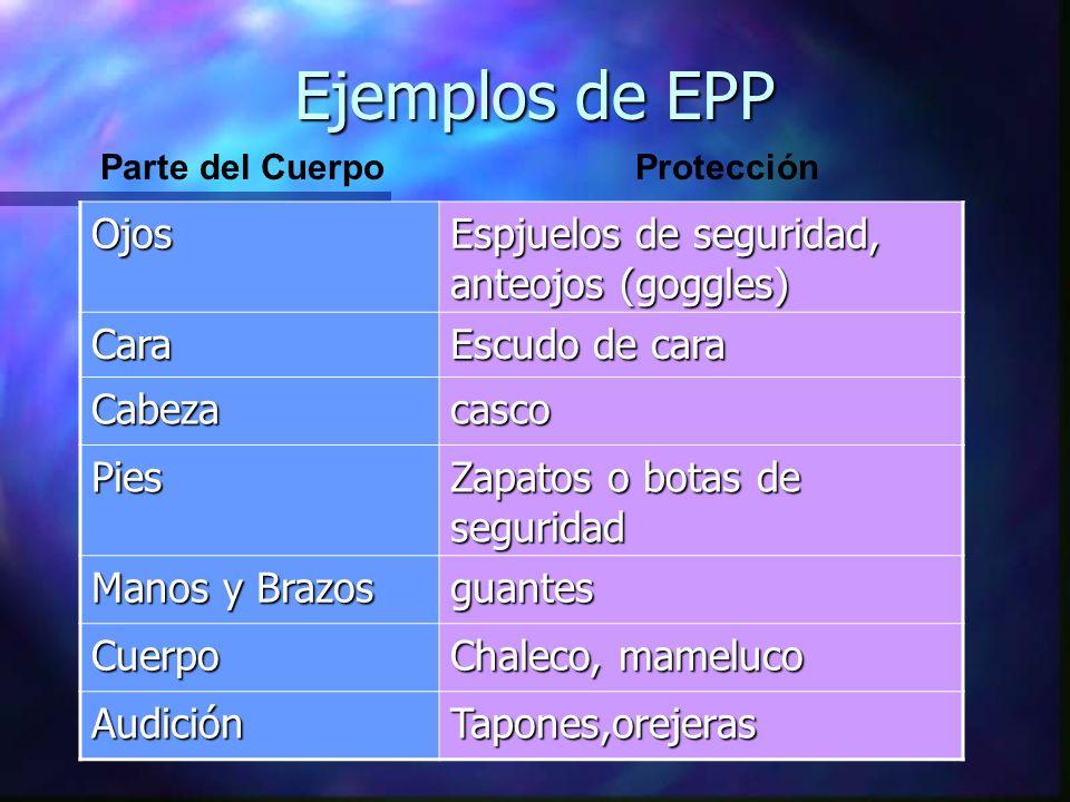 Ejemplos de EPP Ojos Espjuelos de seguridad, anteojos (goggles) Cara