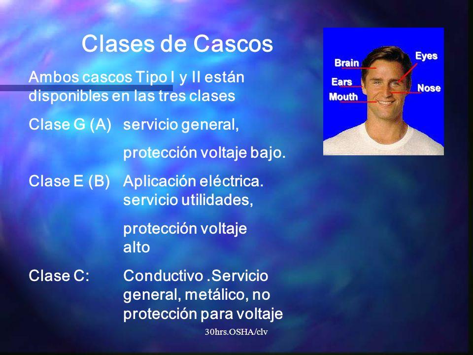 Clases de Cascos Ambos cascos Tipo I y II están disponibles en las tres clases. Clase G (A) servicio general,