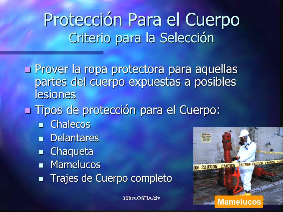 Protección Para el Cuerpo Criterio para la Selección