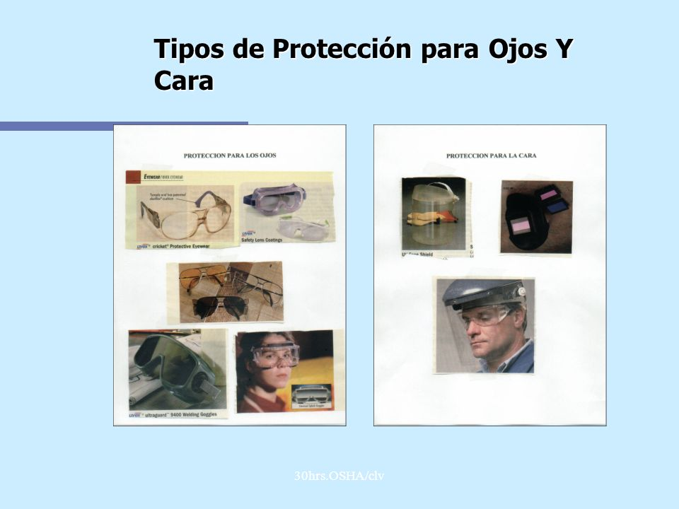 Tipos de Protección para Ojos Y Cara