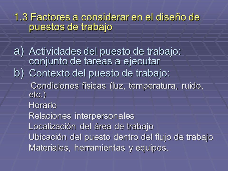 1.3 Factores a considerar en el diseño de puestos de trabajo