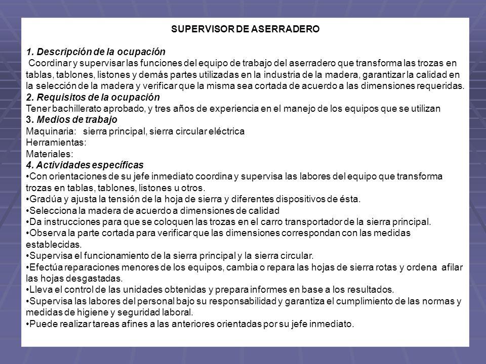 SUPERVISOR DE ASERRADERO