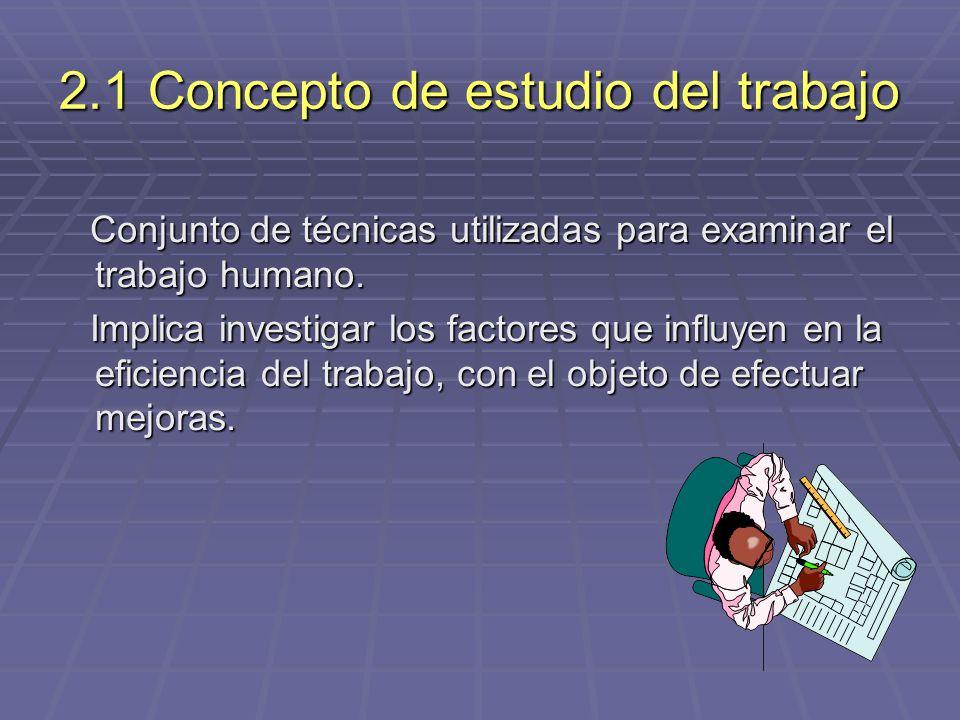 2.1 Concepto de estudio del trabajo