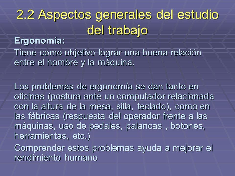 2.2 Aspectos generales del estudio del trabajo