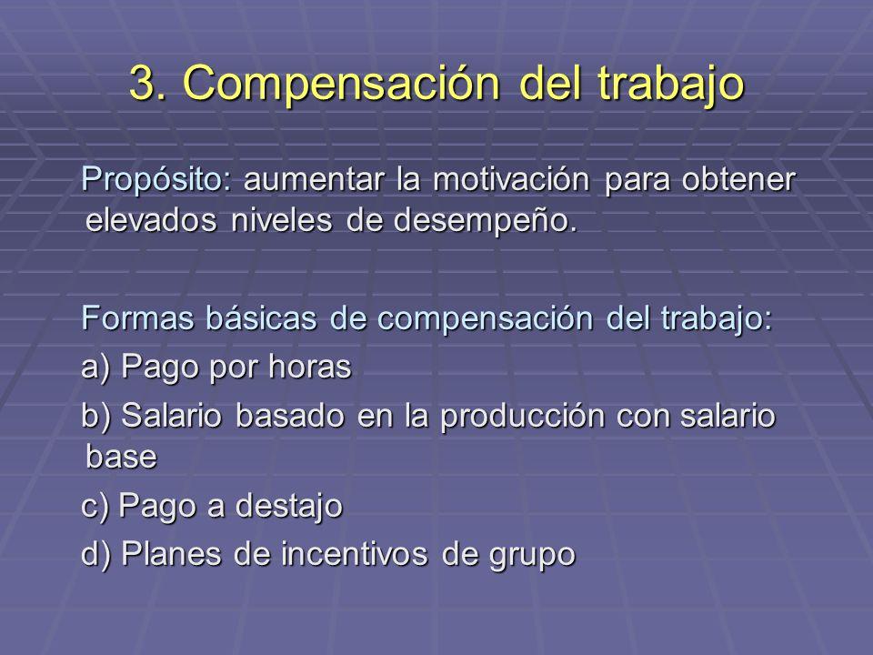 3. Compensación del trabajo