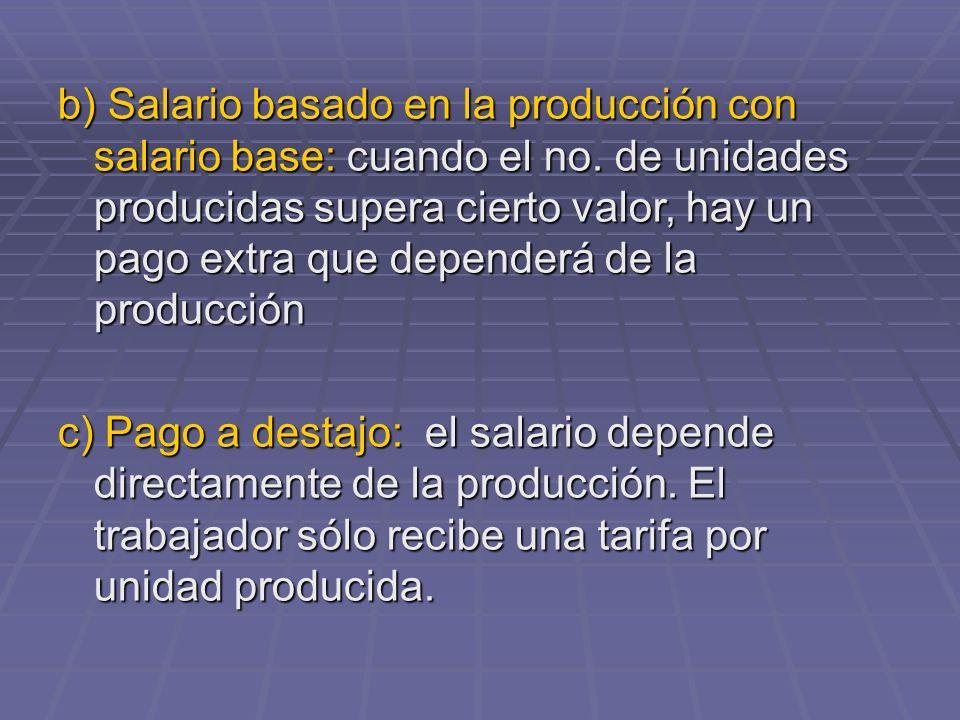b) Salario basado en la producción con salario base: cuando el no