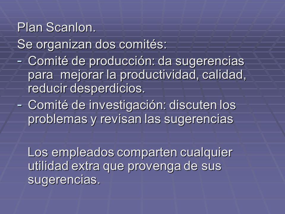 Plan Scanlon. Se organizan dos comités: Comité de producción: da sugerencias para mejorar la productividad, calidad, reducir desperdicios.