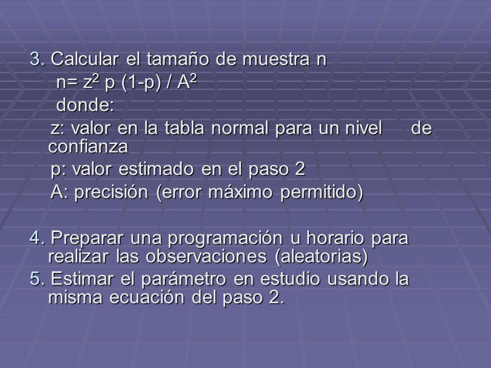 3. Calcular el tamaño de muestra n