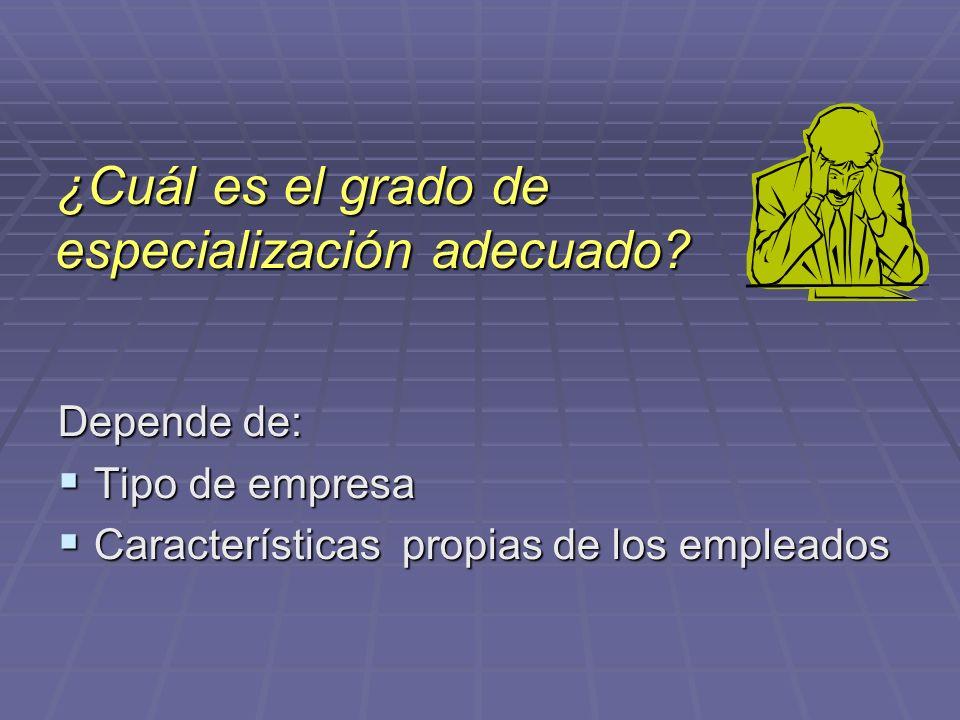 ¿Cuál es el grado de especialización adecuado