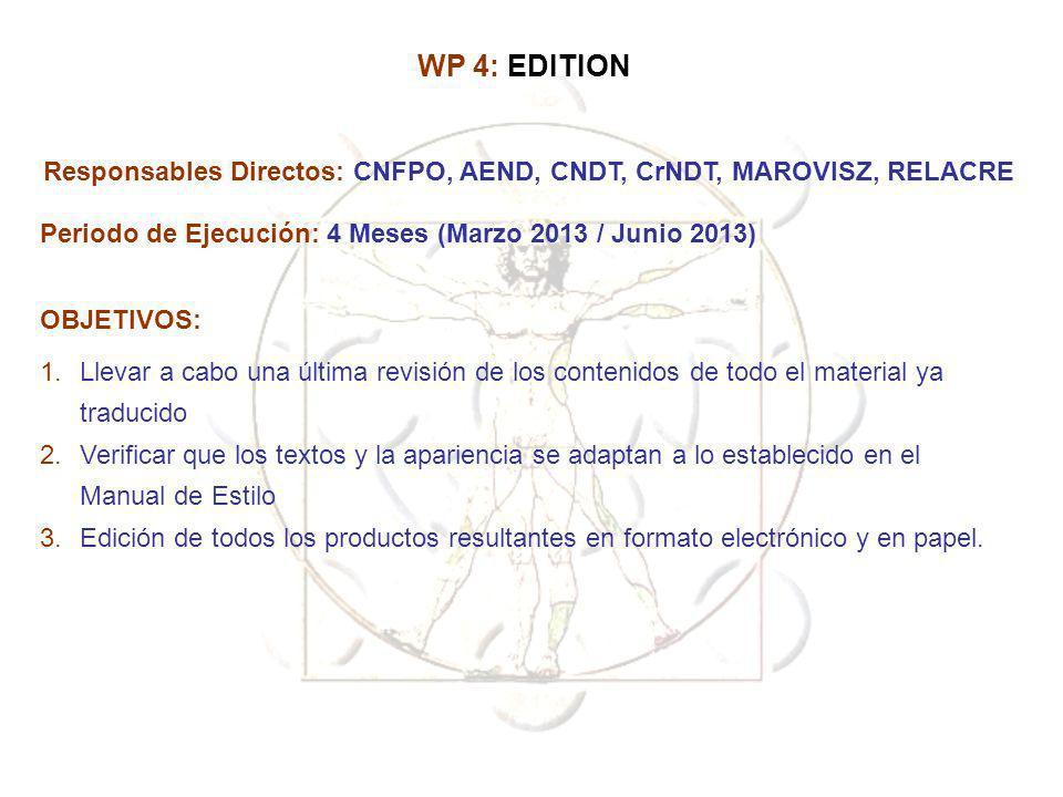 WP 4: EDITION Responsables Directos: CNFPO, AEND, CNDT, CrNDT, MAROVISZ, RELACRE. Periodo de Ejecución: 4 Meses (Marzo 2013 / Junio 2013)
