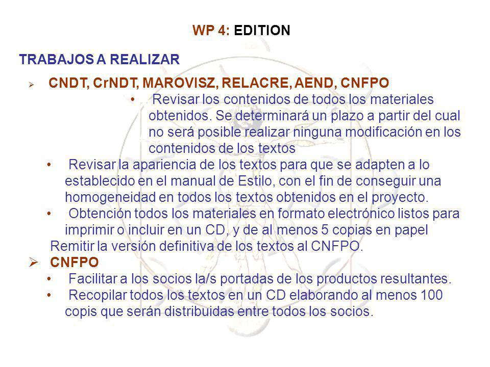 Remitir la versión definitiva de los textos al CNFPO. CNFPO