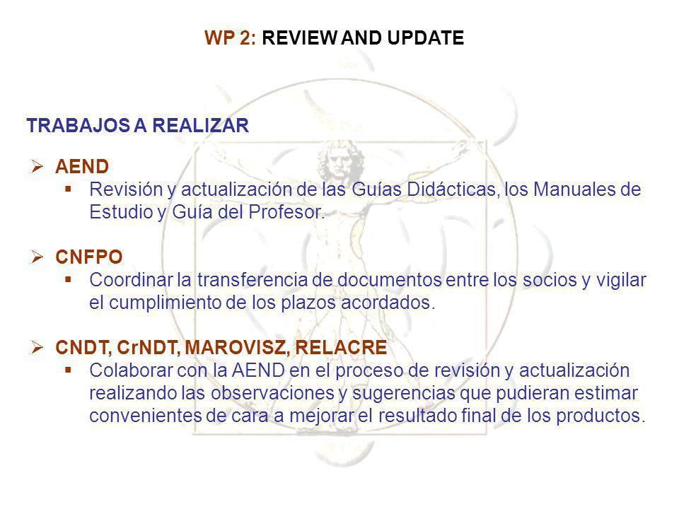 WP 2: REVIEW AND UPDATE TRABAJOS A REALIZAR. AEND. Revisión y actualización de las Guías Didácticas, los Manuales de Estudio y Guía del Profesor.