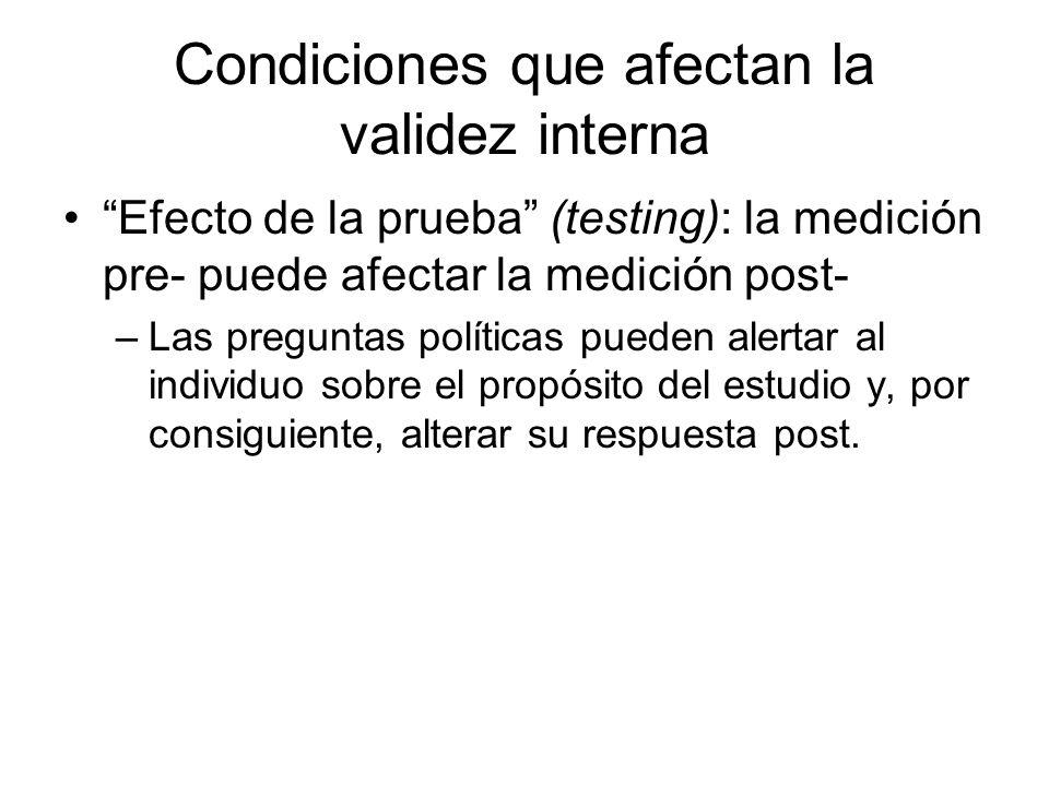 Condiciones que afectan la validez interna