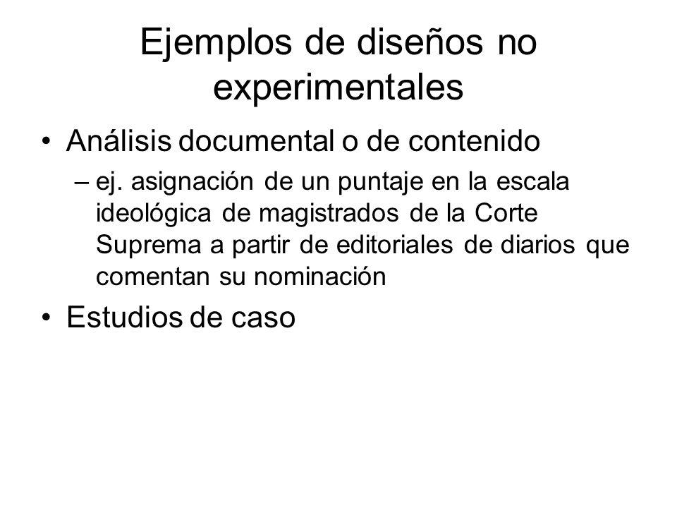 Ejemplos de diseños no experimentales