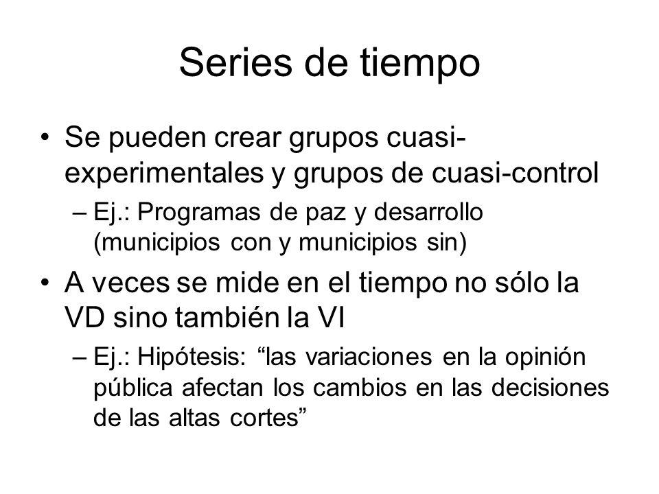 Series de tiempo Se pueden crear grupos cuasi-experimentales y grupos de cuasi-control.