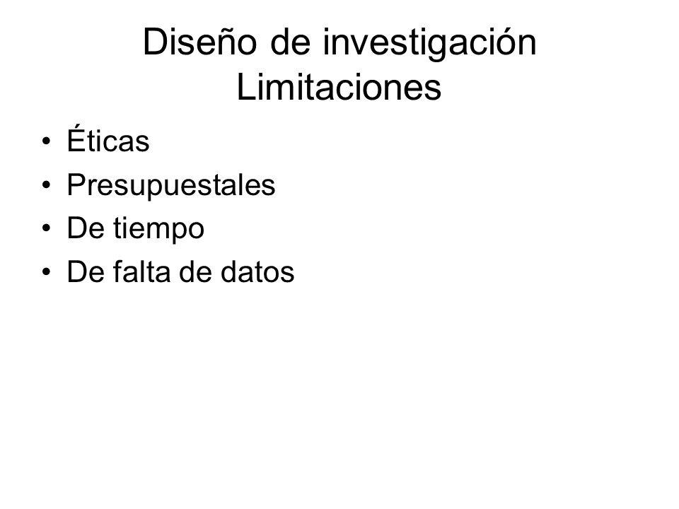 Diseño de investigación Limitaciones