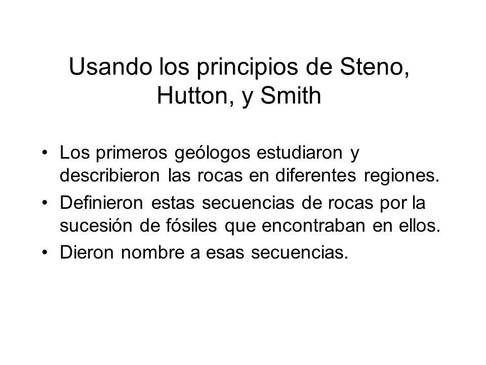 Usando los principios de Steno, Hutton, y Smith