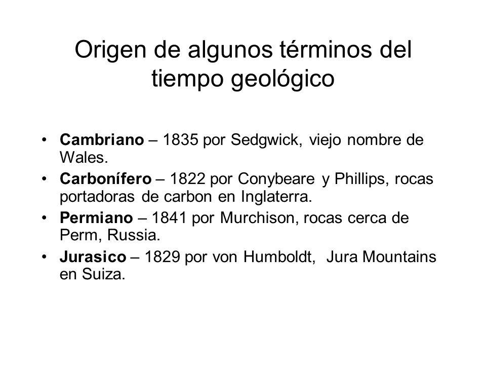 Origen de algunos términos del tiempo geológico