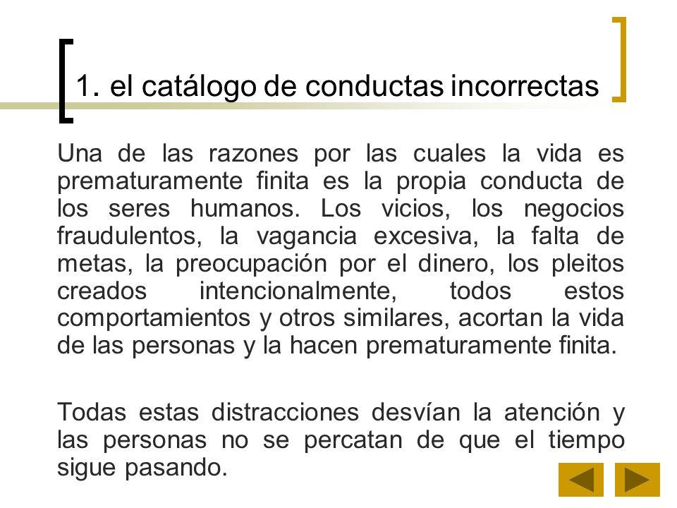 1. el catálogo de conductas incorrectas