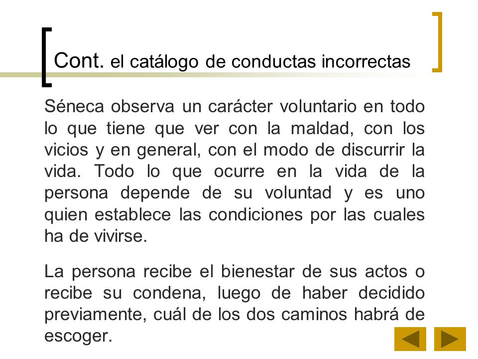 Cont. el catálogo de conductas incorrectas