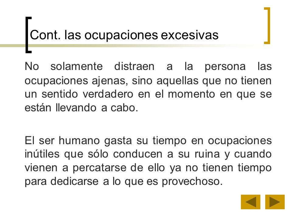 Cont. las ocupaciones excesivas