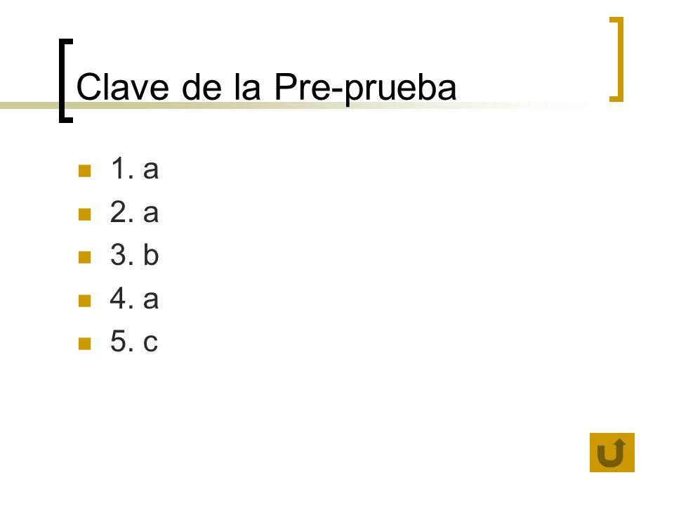 Clave de la Pre-prueba 1. a 2. a 3. b 4. a 5. c