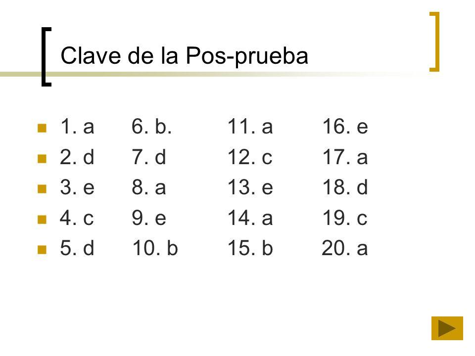 Clave de la Pos-prueba 1. a 6. b. 11. a 16. e 2. d 7. d 12. c 17. a