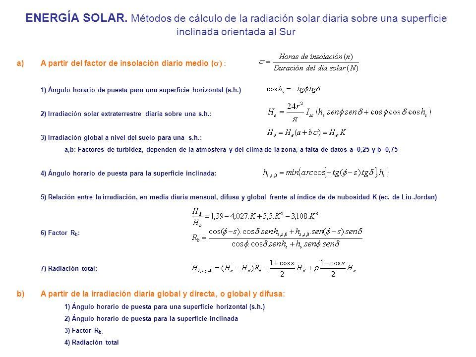 ENERGÍA SOLAR. Métodos de cálculo de la radiación solar diaria sobre una superficie inclinada orientada al Sur