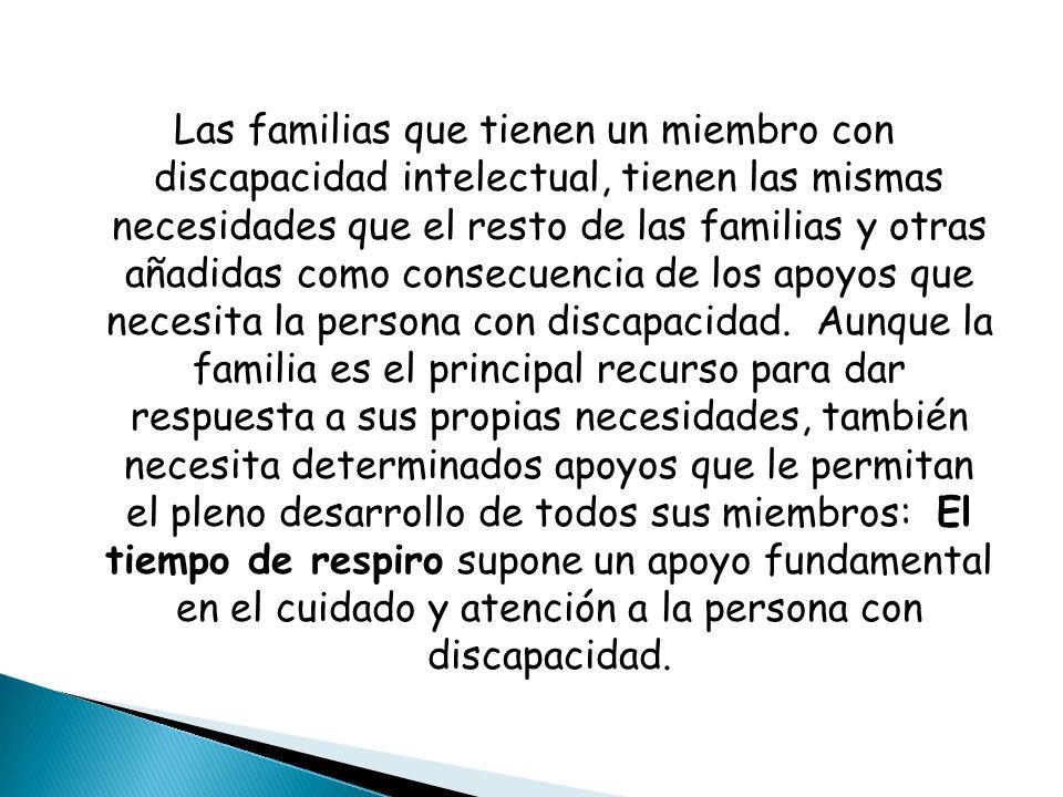 Las familias que tienen un miembro con discapacidad intelectual, tienen las mismas necesidades que el resto de las familias y otras añadidas como consecuencia de los apoyos que necesita la persona con discapacidad.