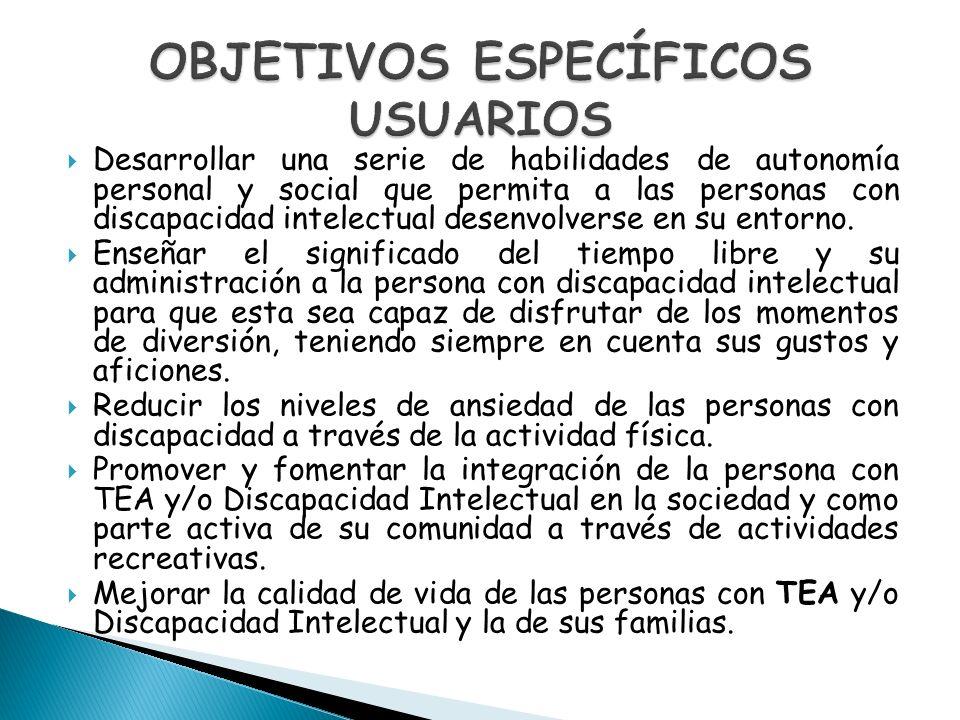 OBJETIVOS ESPECÍFICOS USUARIOS