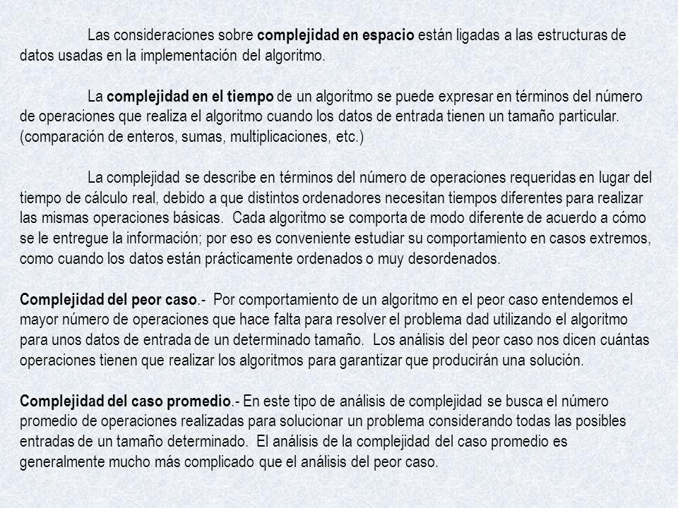Las consideraciones sobre complejidad en espacio están ligadas a las estructuras de datos usadas en la implementación del algoritmo.