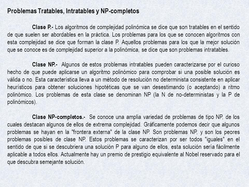 Problemas Tratables, Intratables y NP-completos